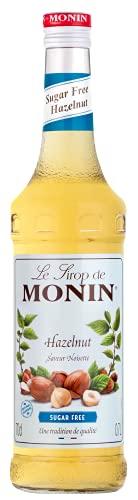MONIN Sirop de Noisette Sans Sucre pour Café, Cappuccino et Chocolat Chaud - Arômes Naturels - 70cl