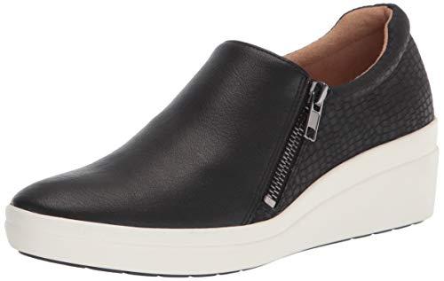 Naturalizer Women's Sierra Sneaker Wedge, Black Smooth, 8.5