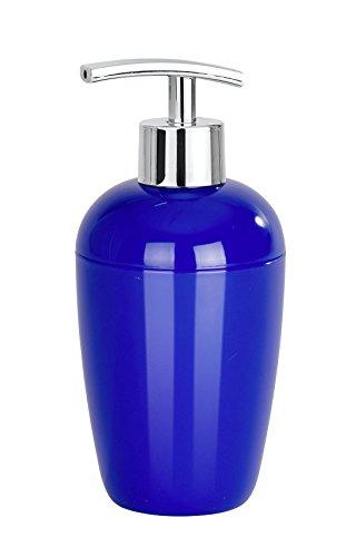 WENKO Seifenspender Cocktail Blau - Flüssigseifen-Spender, Spülmittel-Spender Fassungsvermögen: 0.43 l, Polystyrol, 8 x 17.5 x 8 cm, Blau