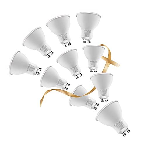 GU10 LED Bombilla Blanco Cálida 2800K Wowatt LED GU10 6W Equivalente a Halógena de 50W 35W 20Watt Ahorro de Energía LED Lámpara GU10 AC 230V 500LM 82Ra Ángulo de Haz de 120° No Regulable Paquete de 10