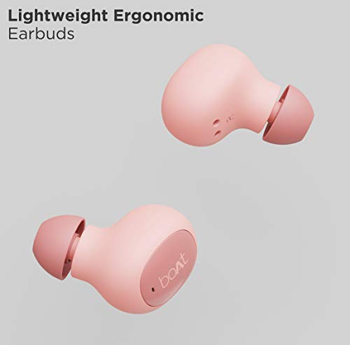 Boat Airdopes 121v2 TWS Earbuds with Bluetooth V5.0, Immersive Audio, Up to 14H Total Playback, Instant Voice Assistant, Easy Access Controls with Mic and Dual Tone Ergonomic Design(Cherry Blossom)