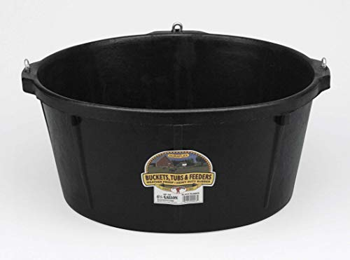 Little Giant Heavy Duty Rubber Tub with Hanging Hooks Durable Rubber Feed Pan, Perfect for Indoor or Outdoor Use (6.5 Gal) (Item No. HP750)