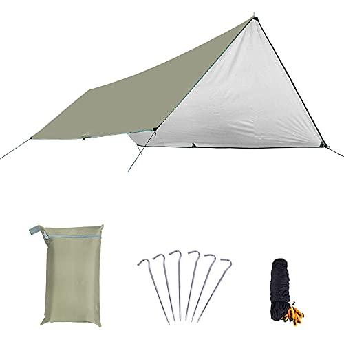 Impermeable Sun Shelter Tarp Survival Camping Escalada Tienda De Tienda Al Aire Libre Patio Sun Shade Toldo Tabla Jardín Tienda Tienda Sombra,Caqui,L