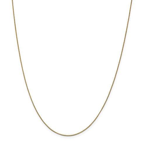 Diamond2deal 14K giallo oro .7mm casella catena collana 76,2cm