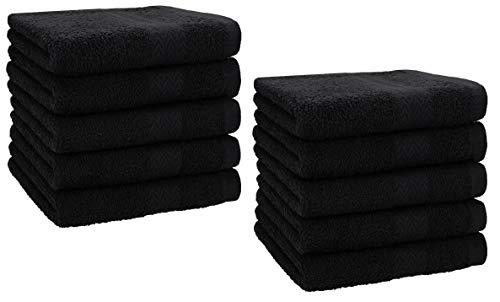 Betz Lot de 10 Serviettes débarbouillettes lavettes Taille 30x30 cm en 100% Coton Premium Couleur Noir