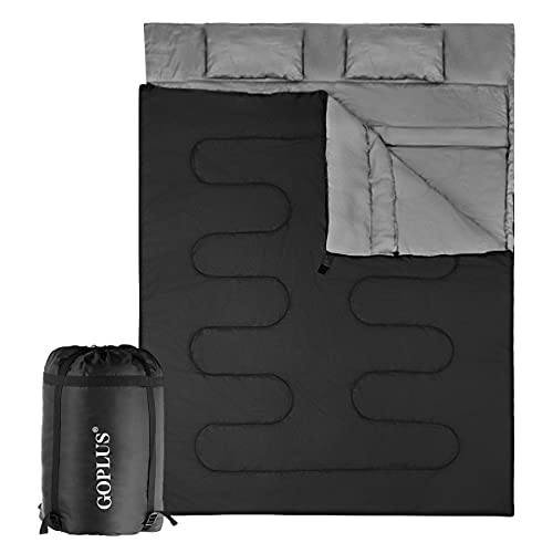 GOPLUS Schlafsack Deckenschlafsack Hüttenschlafsack Doppelschlafsack Reiseschlafsack Trekkingschlafsack Mumienschlafsack, mit Zwei Kissen, (190+30) x 150 cm (Schwarz)