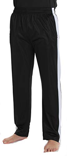 At The Buzzer Mens Athletic Tricot Track Pants 54952-BLK-L Black