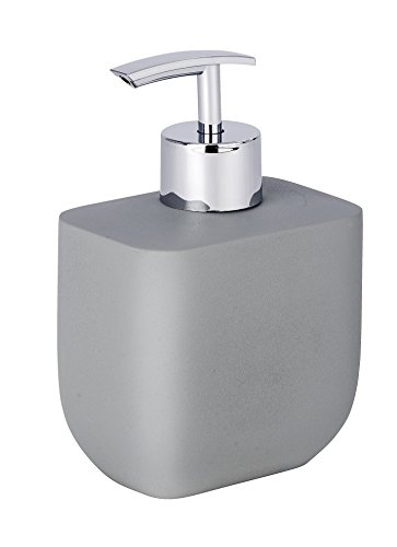WENKO 22030100 Seifenspender Concrete, Flüssigseifen-Spender, Spülmittel-Spender Fassungsvermögen: 0,3 l, Polyresin, 9,3 x 14 x 6,5 cm, grau