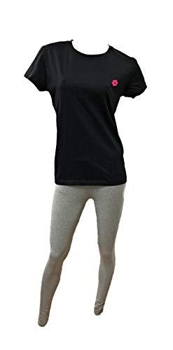 Lotto Conjunto deportivo para mujer de dos piezas, camiseta y mallas - Ropa deportiva - Yoga - Fitness - Gimnasio - Running - Deportivo Leggings Gris + Camiseta Negra M