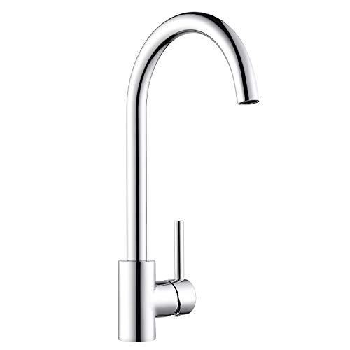 Amzdeal Rubinetti da cucina, Rubinetto lavello cucina, rubinetto ad arco alto, rubinetto girevole in ottone a 360 °, risparmio idrico
