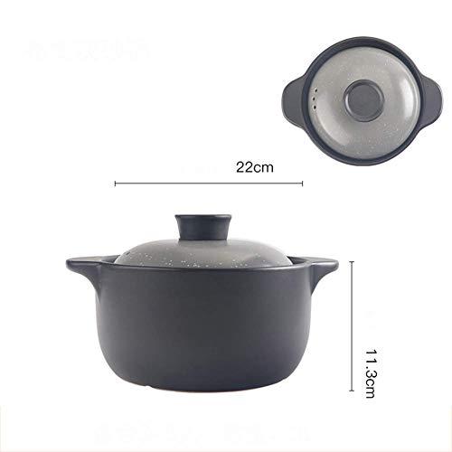 HAOT Keramikauflauf Hitzebeständiger Tontopf Mini Irdener Topf mit Zwei Griffen Janpanese Kochgeschirr mit Maldeckel Kompatibles Gas Feuer-i 3l