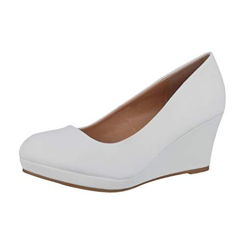 Elara Damen Pumps Keilabsatz Schuhe mit Plateau Chunkyrayan B8011Y-PM-Weiss-38