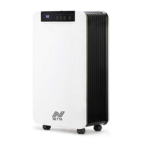 NETTA Dehumidifier 12L/Day - Digital Control Panel, Air Filter, Continuous Drainage, Auto Restart, Timer, 1.5L Water Tank - For Home & Office, Damp, Mould Control, Laundry Drying