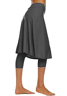 Akaeys Women's Modest Extra Long Swim Skirt with Capris Leggings Active Skirted Swimwear Graphite