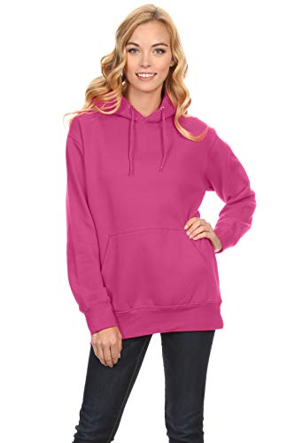 Simlu Hot Pink Hoodie, Hot Pink Sweatshirt, Hot Pink Sweater Pullover for Women, Hot Pink, Medium
