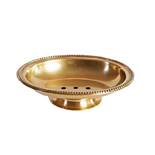 Heigmz fzh Jabonera de latón para ducha, ideal para baño, ducha, gimnasio, escuela y más, elimina la necesidad de taladrar agujeros en la pared (amarillo), tamaño: 15 x 12 x 4 cm