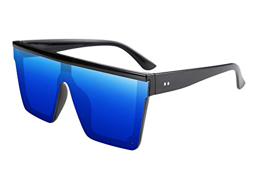 FEISEDY Gafas de Sol Hombre Grandes de Lente Siamés de Moda UV400 Gafas de Sol con Tapa Plana para Hombre y Mujer B2470