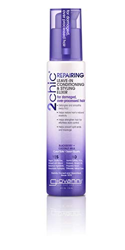 GIOVANNI 2chic Repairing Leave-In Conditioning & Styling Elixir, 4 oz. Blackberry & Coconut Milk, Nourishing Formula For Dry Damaged Color Treated Hair, No Parabens, Color Safe (Pack of 1)