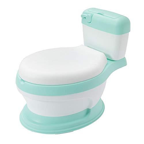 Zcm Vasino per Bambini Bambino Formazione Ciotola vasino Toilette Toilette Bambini Pot Pannello del Sedile for Bambini padelle Portatile orinatoio Schienale Comodo Cartone Animato (Color : GN)