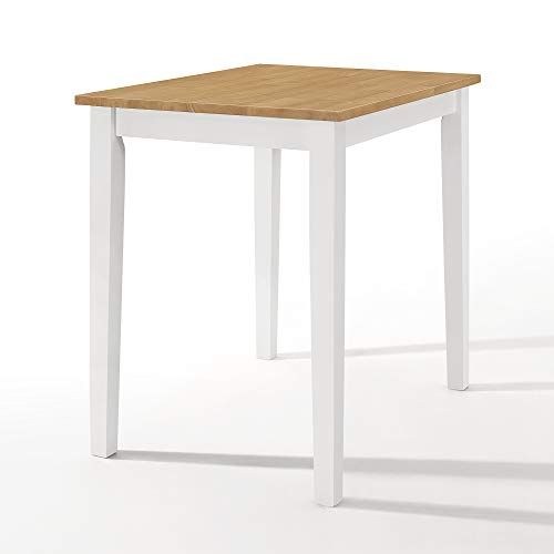 Ledbury Small Wooden Kitchen Dining Table in White and Light Oak Finish   100% Solid Wood Diner Table