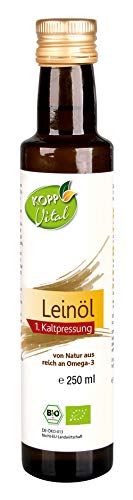Kopp Vital Bio-Leinöl | 250 ml | vegan | reich an Omega-3 | 100 % Leinöl aus kontrolliert biologischem Anbau
