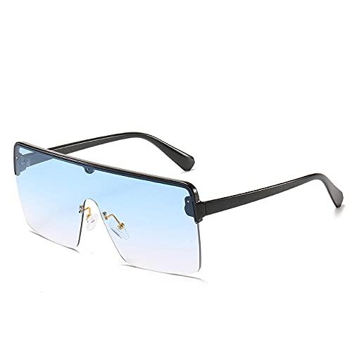 Powzz ornament Gafas de sol de gran tamaño vintage para mujer, gafas de sol cuadradas a la moda para hombre, gafas retro punk, tonalidades coloridas UV400, gafas-3grandient_blue_Universal