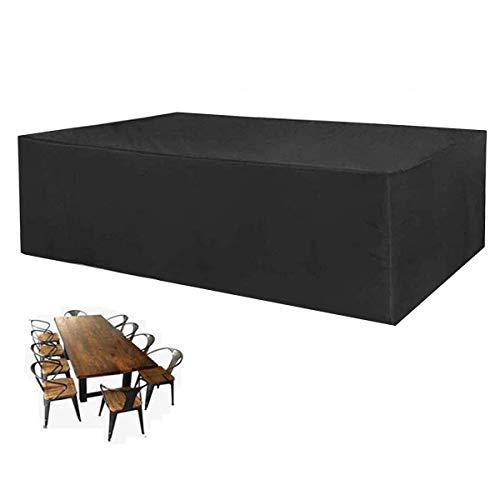 SEESEE.U Fundas para Muebles de Patio Negras 135 * 135 * 75, Tela Oxford, Rectangular, Impermeable, para Mesa y Silla, para Mesa de Polvo al Aire Libre y Cubierta de protección para Silla
