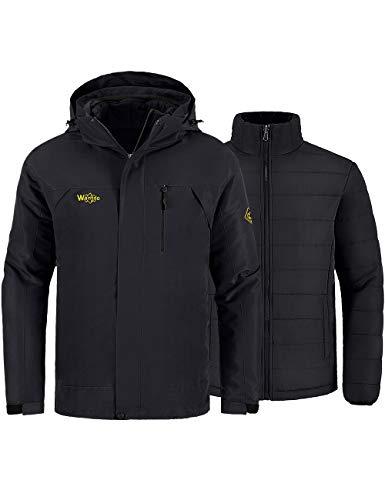 Wantdo Men's Winter Ski Jacket Water Resistant Windproof 3 in 1 Jacket Puff Liner,Black,US L