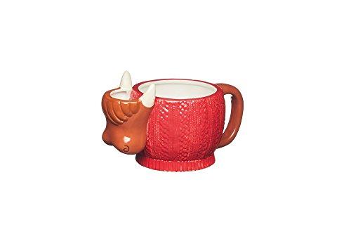 KitchenCraft Painted Ceramic Novelty Highland Cow Mug with Tea Bag Holder, 500 ml (17.5 fl oz) - Brown / Red