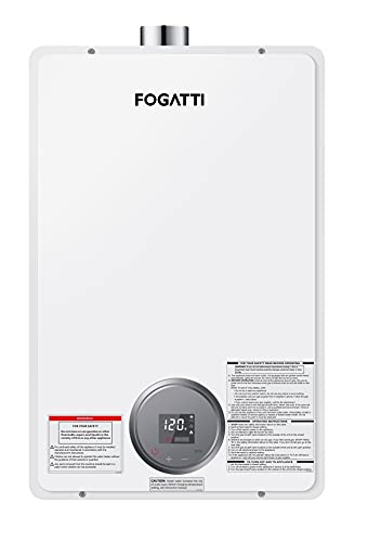 Tankless Water Heater Natural Gas, FOGATTI On Demand Hot Water Heater Indoor for 3-4 Persons Home Use, 4.2 GPM, 170,000 BTU,120V AC, White