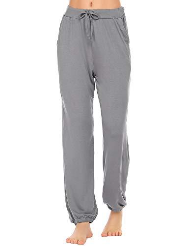 Ekouaer Womens Cotton Pajama Pants Elastic Cuffs Sleepwear Casual Loose Lounge PJ Bottoms Grey