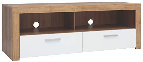 Boardd - Mueble de TV con soporte para escritorio, sala de estar, TV, mesa con almacenamiento y 2 cajones, decoración Riviera, roble, blanco, brillante, 135 x 48 x 42 cm