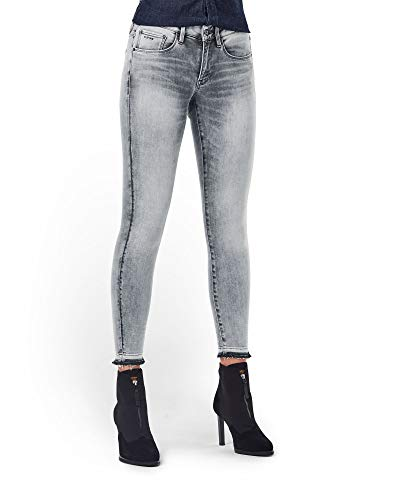 G-STAR RAW Womens 3301 Mid Waist Skinny Ripped Ankle Jeans, Faded Seal Grey A634-C274, 33W / 32L