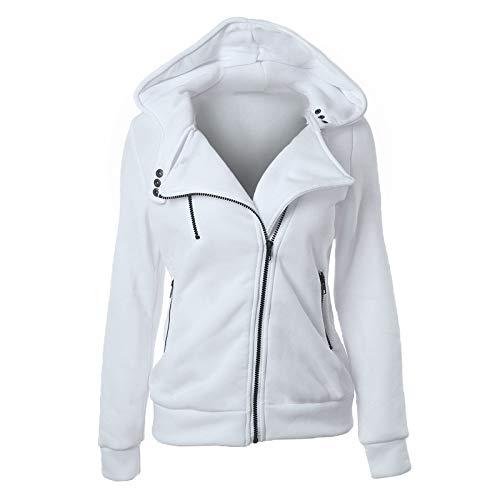 SFYZY Women's Hooded Pockets Long Sleeve Sweatshirts Jackets Size Hooded Pullover Thermal Long Hoodie Zip Up Jacket Warm Coat Casual Crew Neck Sweatshirt Vintage Winter Cardigan White