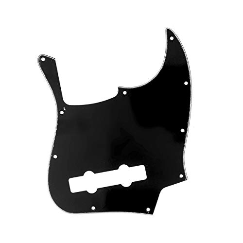 Musiclily Pro 5 Cuerdas 10 Agujeros Estilo Contemporáneo J Bass Pickguard Golpeador para Bajo Fender Jazz Bass Mexican,3 capas Negro
