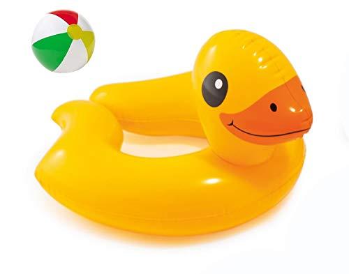 Bavaria Home Style Collection Aufblasbarer Schwimmring Motiv Auswahl Flamingo Frosch Ente Pinguin Zebra Wasserspielzeug Luftmatratze mit Tierkopf Wasserspielring Kinder ab 3 Jahre (Ente)