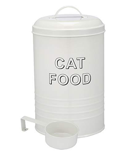 Contenedor de comida para gatos – Contenedor de comida para gatos – Recipiente de almacenamiento de comida para perros – Capacidad de 4 libras – cuchara incluida