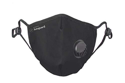 Livinguard - PRO MASK| 3-Lagige Gesichtsmaske, with Valve | Verstellbar, Waschbar, Wiederverwendbar (Black, L)