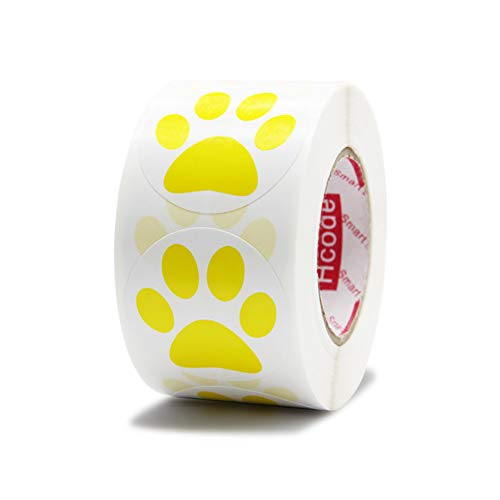Hcode 1.5' Round Blue Bear Paw Print Stickers Dog Puppy Paw Stickers Bear Paw Stickers 500 Pieces per Roll (1 roll, Yellow)