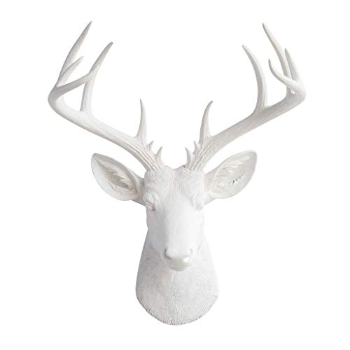 Near and Deer ND0101 Faux Taxidermy 14 Point Deer Head Wall Mount, White