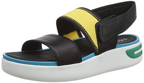 Geox D OTTAYA B, Sandali con Cinturino alla Caviglia Donna, Nero (Black/Turquoise C0490), 40 EU