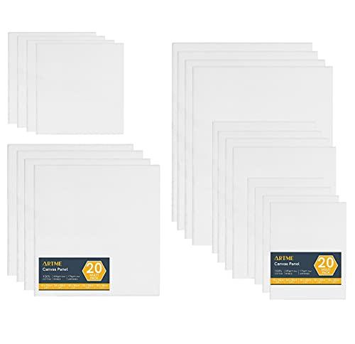 Artme Paneles de Lienzos 20pk - 15x20,20x20,30x30,24x30,30x40cm Tamaños surtidos / 280GSM / 100% Algodón/Blanco/Triple imprimado/Sin ácido/Grano medio / 0.3cm - Acrílico/Aceite