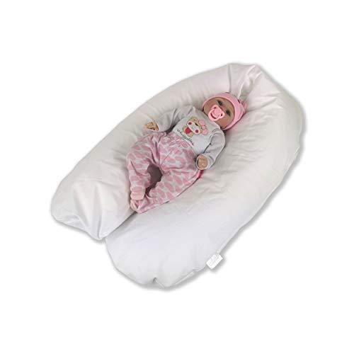 CorpoMED Stillkissen Maxi 194x35cm inkl. Bezug (weiß), handgenäht aus Deutschland, waschbarer Bezug aus 100% Baumwolle, verwendbar als Schwangerschafts-Kissen und Lagerungskissen