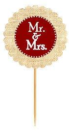 Mr & Mrs Burgundy Rustic Burlap Wedding Cupcake Decoration Topper Food Picks -12Pack