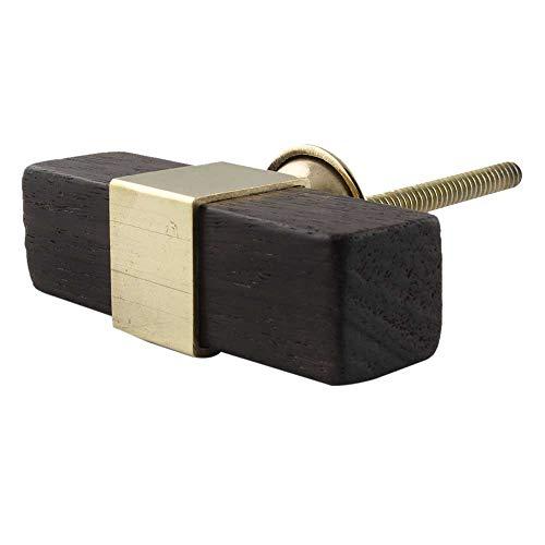 Indianshelf - Pomello quadrato per mobili in legno naturale, realizzato a mano, 1,5 cm, confezione da 2 Pomello 6 Knobs Antico.