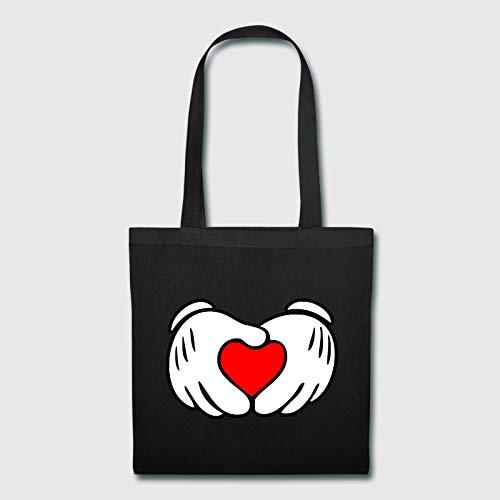 Bolsa de lona con diseño de Mickey y manos de corazón, plegable, para la compra, cesta de la compra, bolsa de tela para manualidades y decoración