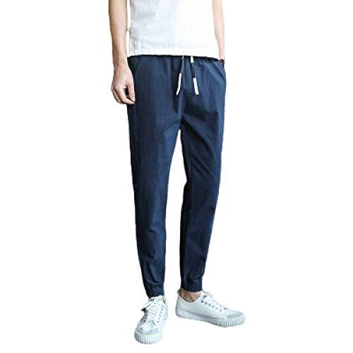 N/ A Pantalones Sueltos versátiles de Moda para Hombres Primavera Otoño Pantalones Finos de algodón casero Puro y Fino, Tacto Suave y Delicado,
