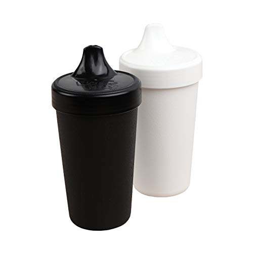 Re-Play 2pk - 10 oz. No Spill Sippy Cups with 1 Piece Silicone Easy Clean Valve, BPA Free Eco Friendly Heavyweight Recycled Milk Jugs are Virtually Indestructible (Black, White)