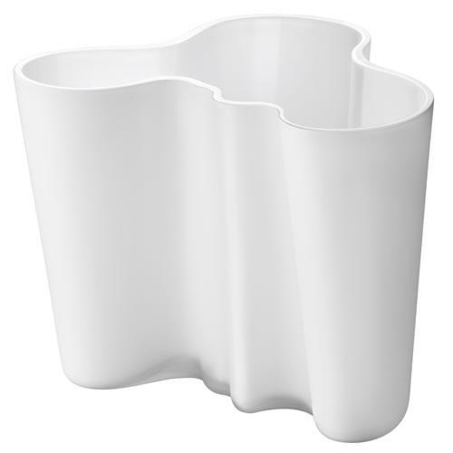 Iittala Alvar Aalto Collection Vase, Blumenvase, Zimmervase, Tischvase, Glas, Opalweiß Matt, 16 cm, 1007293