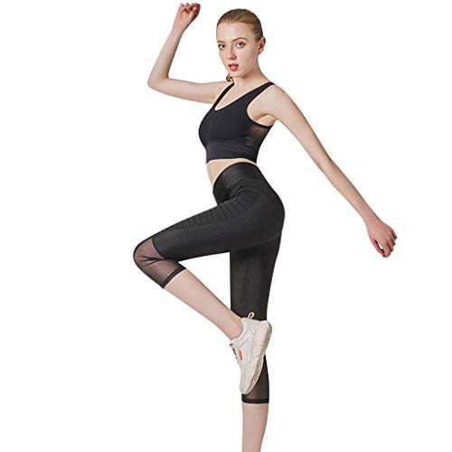 Forthery Womens Perspective Net Mesh Yoga Pants Sport Tummy Control Workout Running Tights Jogger Pants Leggings(Black,M)